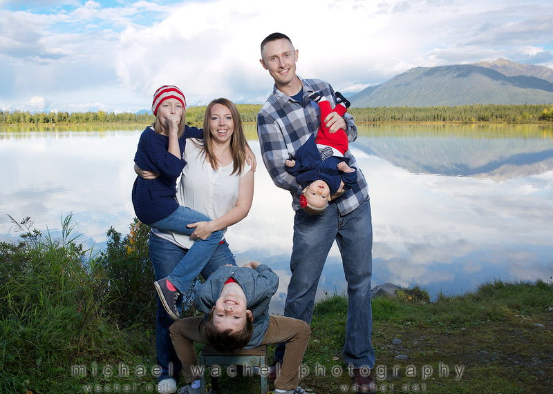 Silly family photo session in Eagle River, Alaska.
