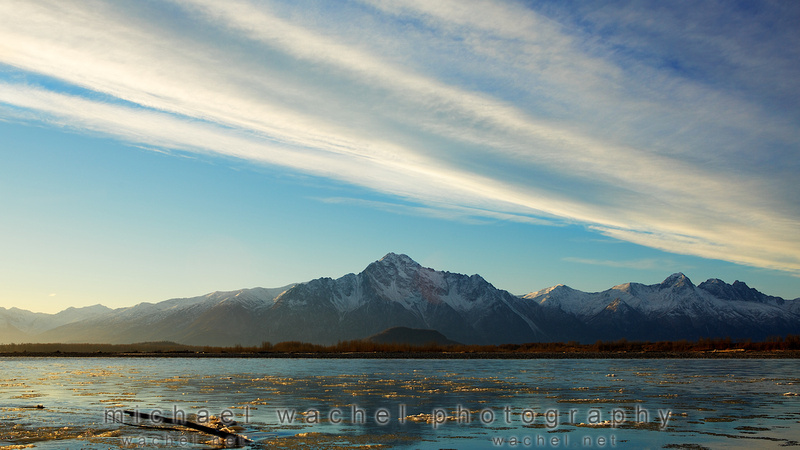 Wasila, Alaska family photographer sunrise on Matanuska River.
